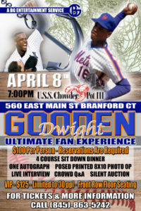 Doc Gooden Meet and Greet with 4 Course Dinner